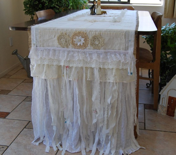 Burlap and Lace wedding table runner by FunkyJunkyArt