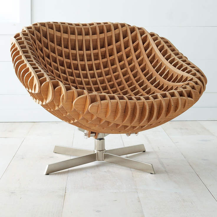 AWESOME grid chair.: Chairs Super, Chairs Chairs, Woods Chairs, Swivel Chairs, Interlocking Woods, Contemporary Swivel, Plywood Furniture, Cool Chairs, Nexus Swivel