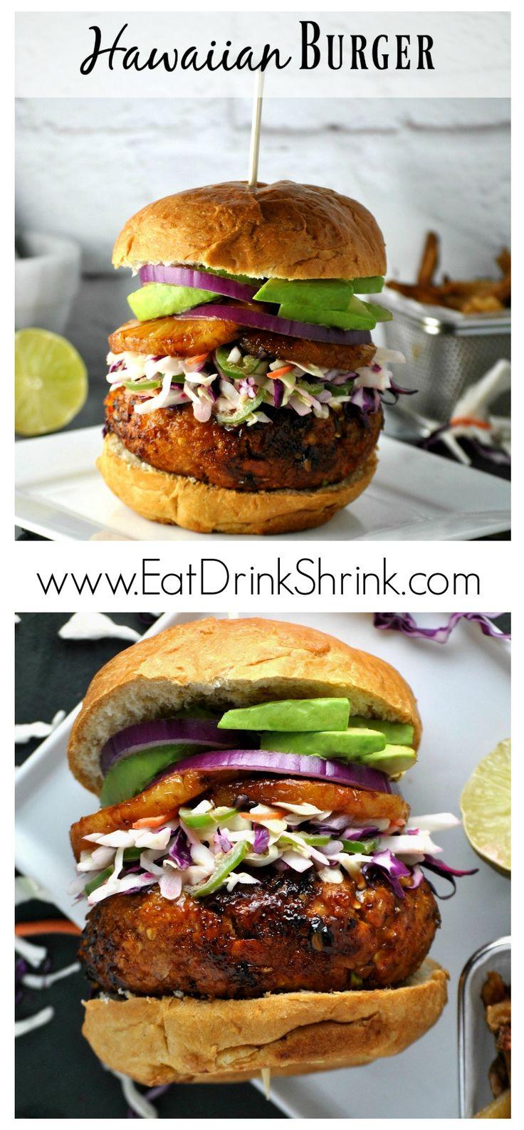 Vegan Hawaiian Burger with homemade teriyaki marinade and Jalapeño Slaw