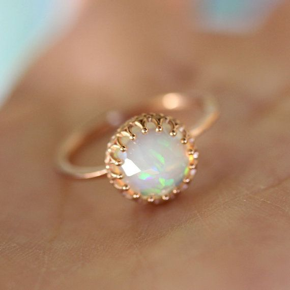 Rose Cut Opal In 14K Rose Gold Ring  Ready To by louisagallery, $520.00