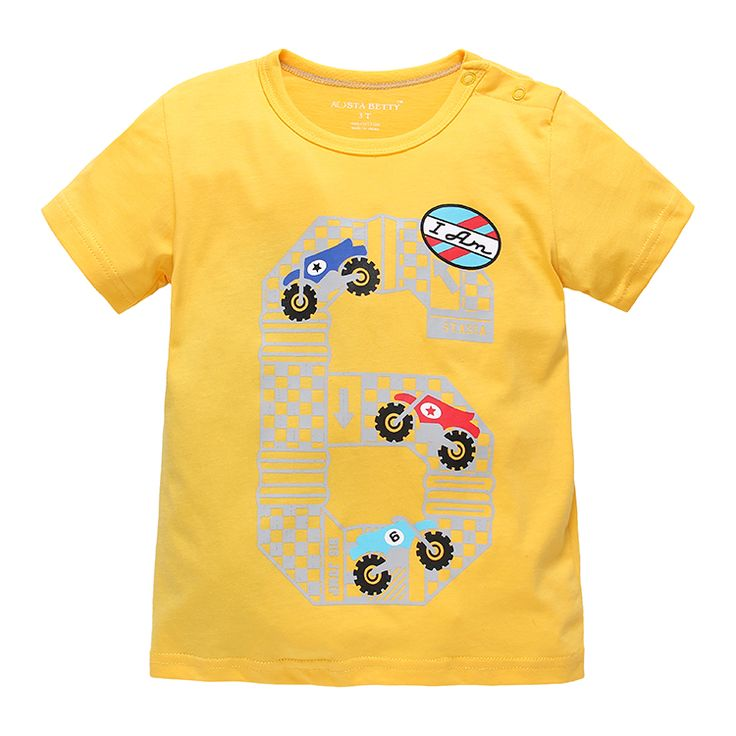 Baby Boy T-shirt Short Sleeve Shirt Kid Summer T-shirt Cartoon No. 6 Car Race Cotton T shirt Little Children T-shirt Tees Shirts