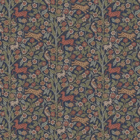 Eva Wallpaper A fantastical wallpaper featuring leopards, deer, birds and hares under a tree of life. The design draws on motifs used by the English designer William Morris in many of his most loved patterns. Shown in multi on dark blue.
