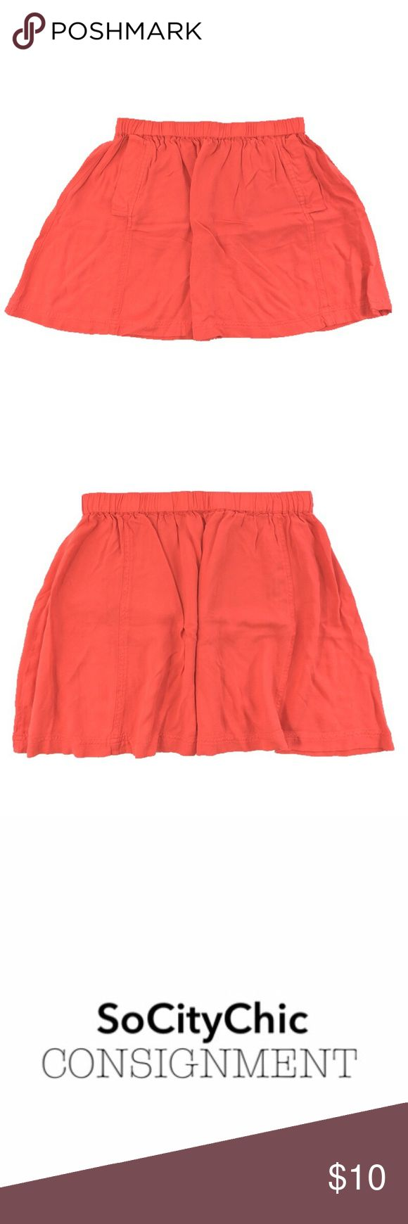 COOPERATIVE SKATER SKIRT_#112-83 COOPERATIVE SKATER SKIRT. ORANGE. TWO SIDE POCKETS. ELASTIC WAIST BAND. WAIST- HEM: 14''. FABRIC: RAYON. CONDITION: LIKE NEW/ NO SIGNS OF WEAR. SIZE M Cooperative Skirts Circle & Skater