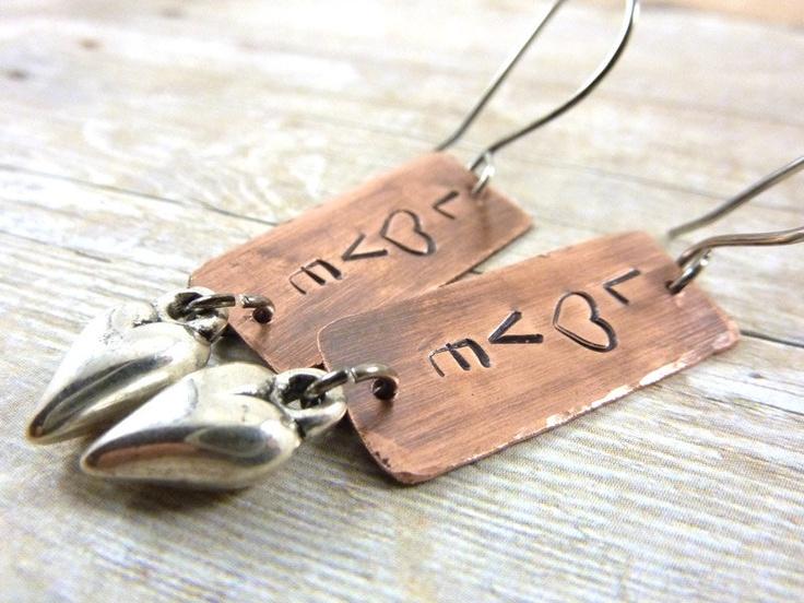 Love Earrings Copper Heart Word Stamped Mixed Metal..00, via Etsy.