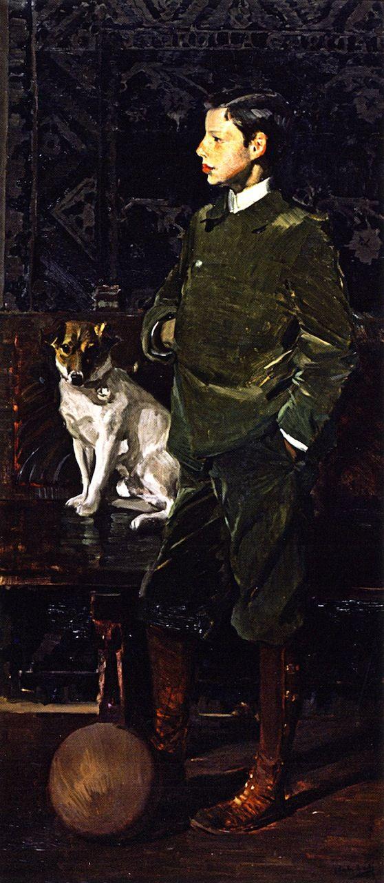 Portrait of Joaquin Sorolla Garcia y su perro by Joaquín Sorolla y Bastida (Spanish 1863-1923)