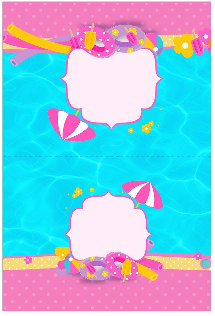 Cartão Agradecimento de Mesa Pool Party Menina