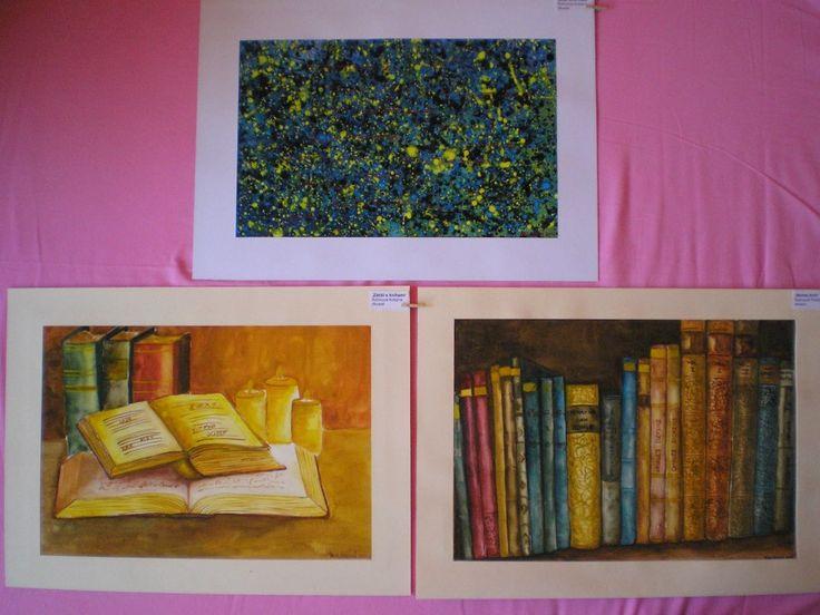 """akvarely na téma """"Knihy, knihovna, informace"""""""