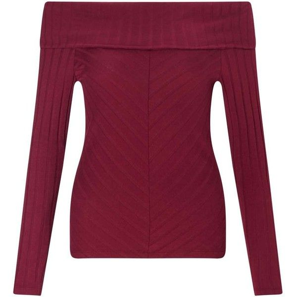 Miss Selfridge Burgundy Foldover Bardot Top ($24) ❤ liked on Polyvore featuring tops, burgundy, miss selfridge, purple off the shoulder top, purple long sleeve top, ribbed top and purple top