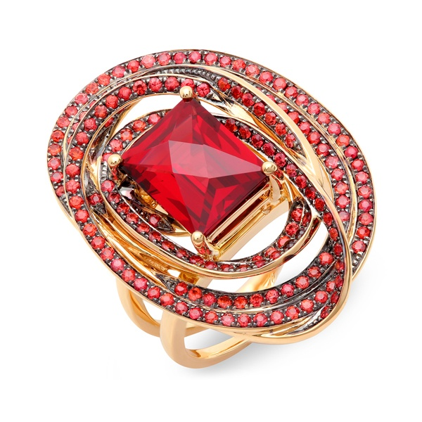 Red Sapphire Designer Ring is micro-pave set with 172 pieces of red sapphires.
