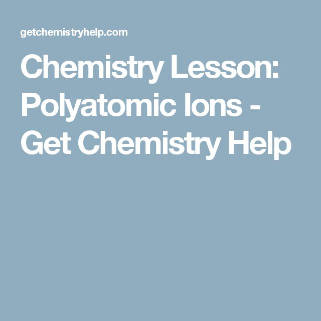 Chemistry Lesson: Polyatomic Ions - Get Chemistry Help