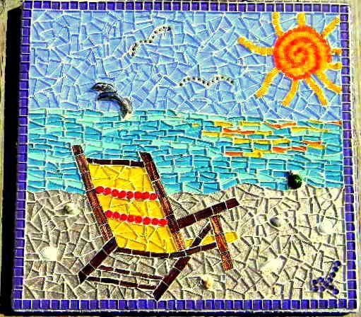 Beach Chair Mosaic Art by MosaicManiacLori on Etsy, $160.00