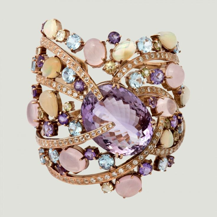 Butler & Wilson - Amethyst 87.36K, Opal 13.07K, White Topaz, Blue Topaz, Amethyst, Lemon Quartz 44.05K and Rose quartz 31.0K Silver Bangle-         H: 8cm- W: 11cm- Diameter: 6.5cm. ☆ £2,500.00 ☆