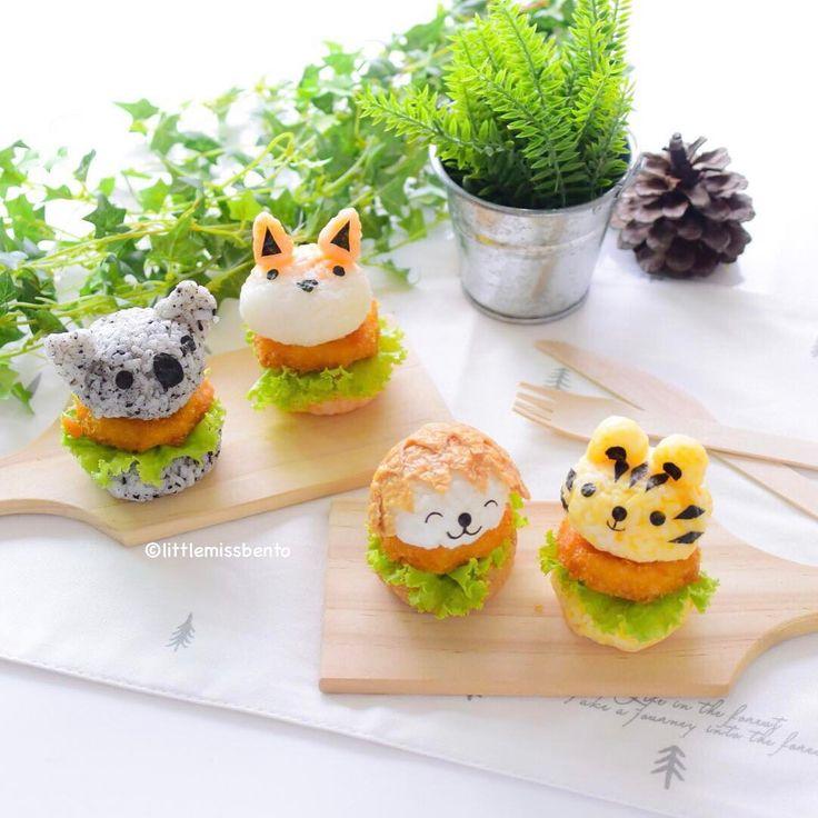 Forest animals mini rice burgers by Little Miss Bento・Shirley シャリー (@littlemissbento)