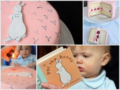"""From """"Under the highchair"""" blog ... Adorable pat the bunny birthday party idea - cute cake, and looks yummy!"""