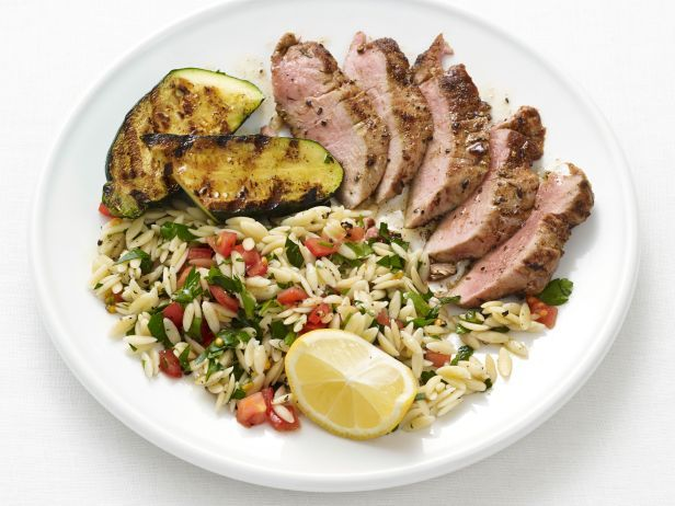 Recipe of the Day: 35-Minute Pork Dinner          Mix up the pasta salad while the pork and zucchini are grilling to ensure this easy dinner is ready in a flash.           #RecipeOfTheDay: Food Network, Pork Dinners, Summer Dinners, Pork And Zucchini With Orzo, Bon Appetit, Network Kitchens, Dinners Ideas, Cooking, Barley Recipes