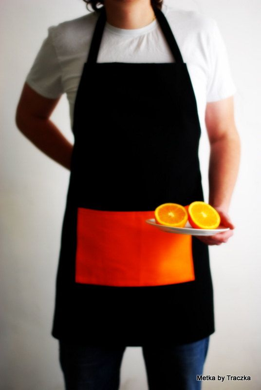 Apron for men - breakfast or dinner - black and orange.  by metkabytraczka, $34.00