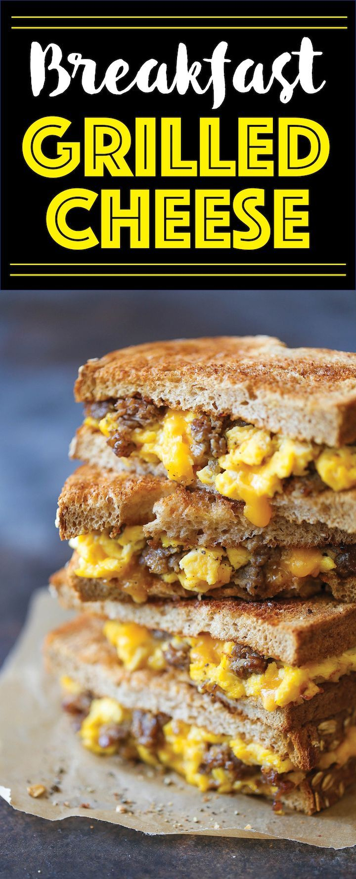 Breakfast Grilled Cheese - The PERFECT excuse to have grilled cheese for breakfast - with scrambled eggs, sausage and of course, ooey gooey melted cheese!