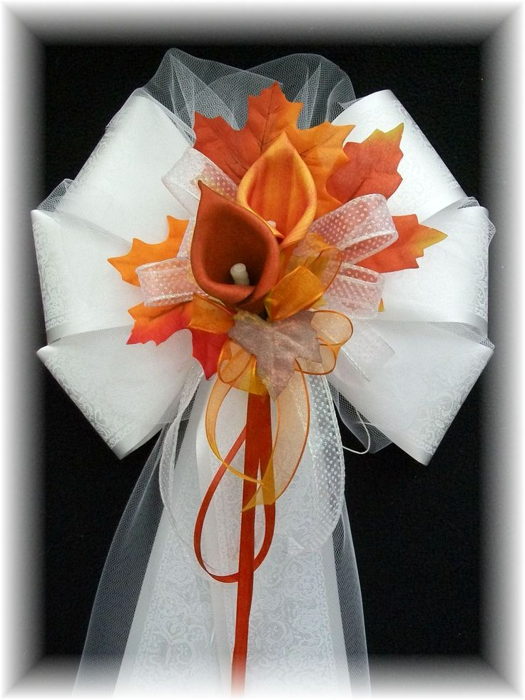 burnt orange wedding | Burnt Orange and Apple Red Calla Lily Pew Bows Burnt Orange and Copper ...
