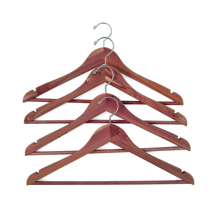 4-pack Cedar Hanger with Fixed Bar