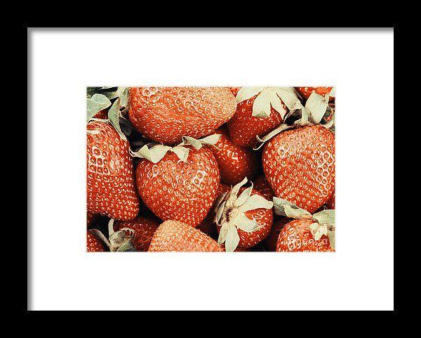 Raspberry And Strawberry Pile In Fruit Market Framed Print