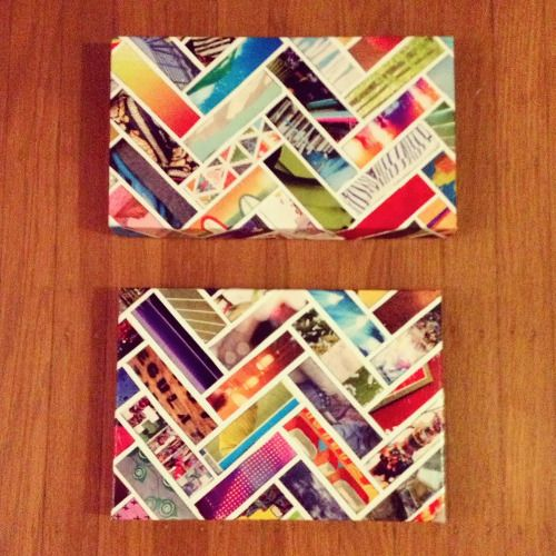 Turn a shoe box lid and some magazine into colorful works of art!
