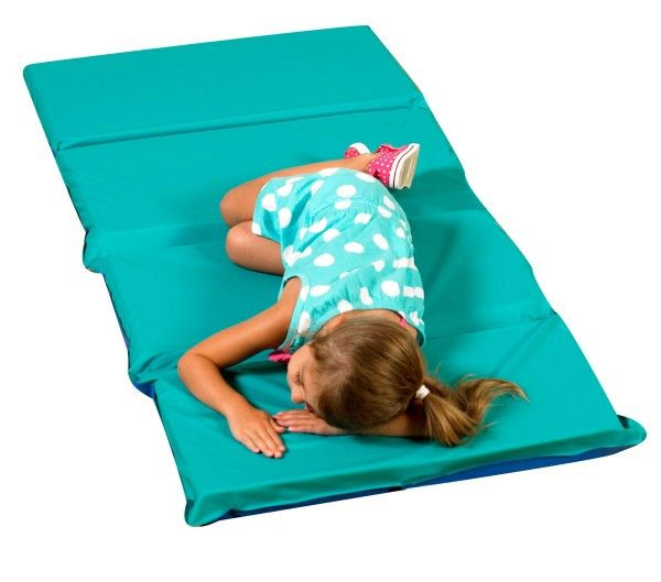"""Children's Factory 2"""" Infection Control Folding Mat - Teal/Blue 4 Sections CF400-509TB"""
