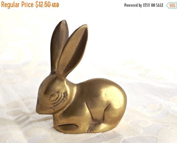 SALE Brass Bunny Solid Brass Bunny Retro by AgedwithGraceVintage