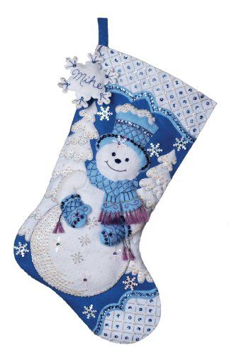 Festive designs, quality materials and generous embellishments continue to make Bucilla felt stockings a favorite stitchery tradition. For over a century, Bucilla has made it possible for stitchers to make beautiful holiday needle-crafts that area pleasure to create and a treasure for generations to enjoy. Features snowflake snowman design theme and each kit contains stamped felt, embroidery floss, sequins, beads, needles, and trilingual instructions. Measures 18-inch long.