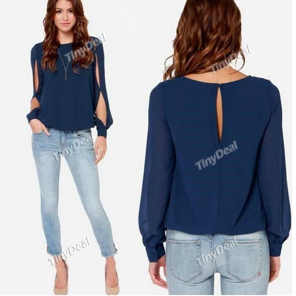 Summer Casual Purity Slashed Sleeves With Button OL Long Sleeve Candy Color Shirt for Women Girl Ladies DCD-379402