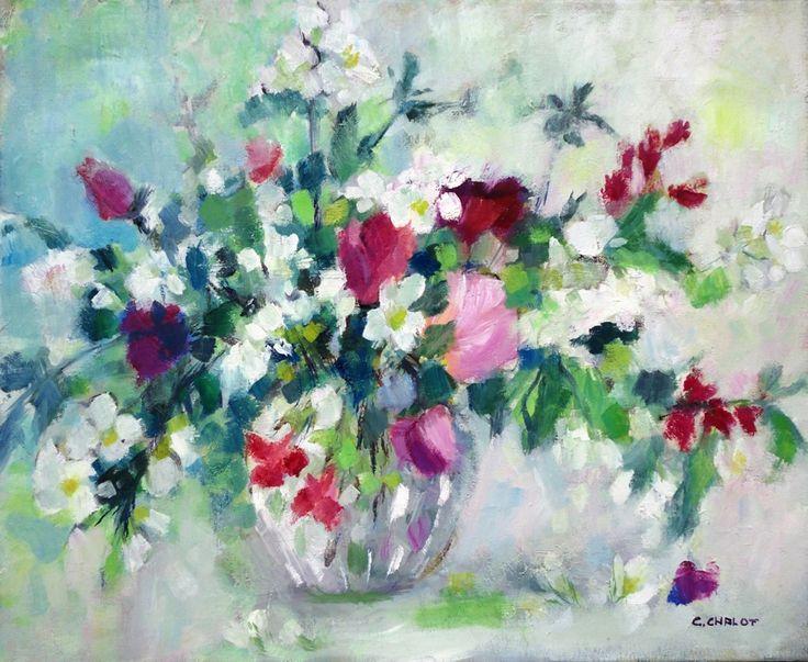 Cécile Chalot - Bouquet de roses, seringat et azalées huile sur toile 50*61 cm