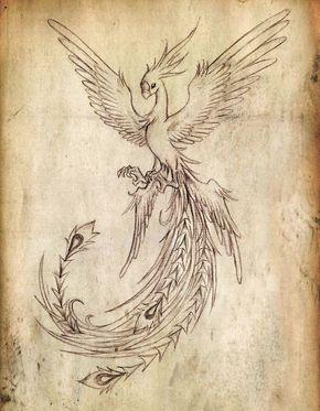 Flying Phoenix Bird Tattoo Design