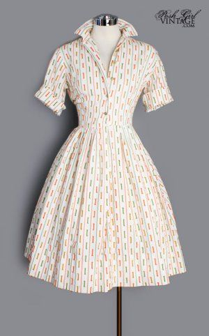 1960's Colorful Ribbon Shirt Dress - M