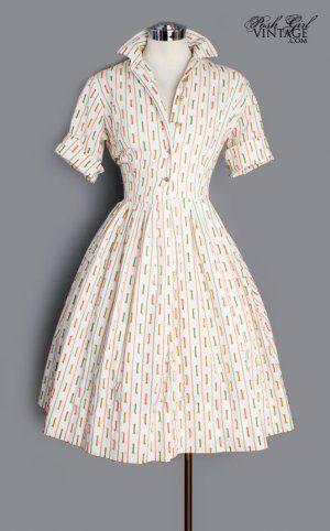 1960's Colorful Ribbon Shirt Dress - M