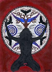 Samhain The Darkening Goddess Art Gift Card by Julie Collet