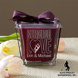 The Elvis Burning Love™ Personalized Scented Spa Candle is so unique and perfect for any Elvis Fan! It comes in 3 different colors and scents - great Wedding or Anniversary Gift! #Wedding #Anniversary #Elvis