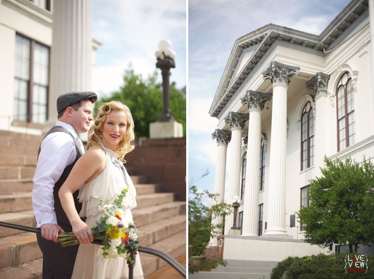 Bride And Groom At Courthouse In Wilmington Nc North Carolina Coastal Elopement Inspiration Raleigh Wedding Photographers Pinterest