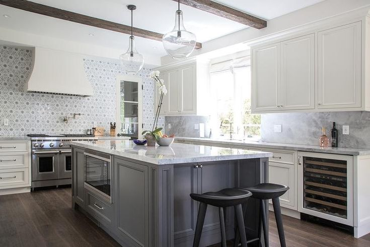 Ivory And Gray Kitchen Features Ivory Shaker Cabinets