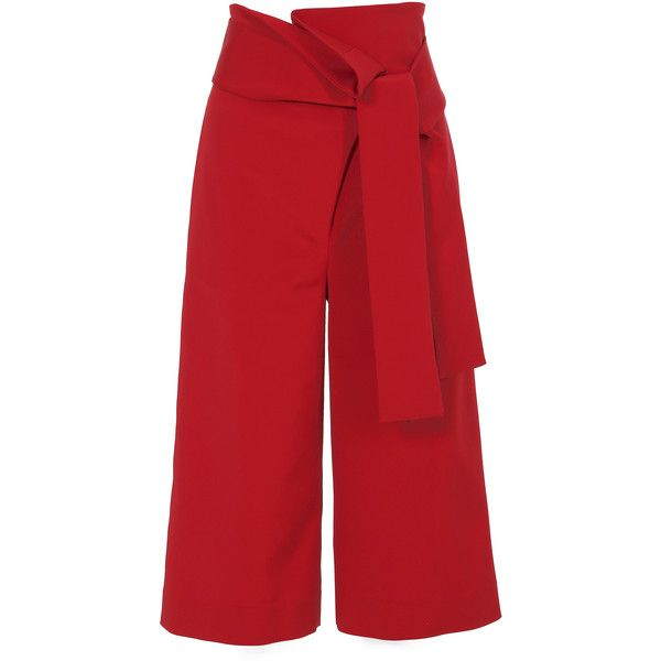 Tibi Stretch Faille Pleated Culottes (22,085 PHP) ❤ liked on Polyvore featuring pants, capris, pleated wide leg pants, fancy pants, dressy pants, pleated pants and red wide leg trousers