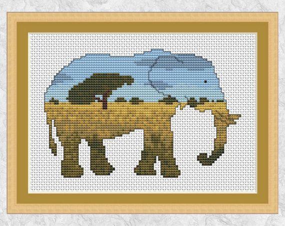 Elephant cross stitch pattern, printable cross stitch pattern, modern African animal chart PDF, jungle, savannah, tree, landscape silhouette by Climbing Goat Designs