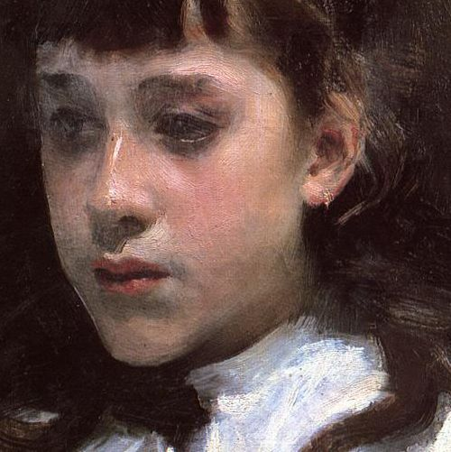 John Singer Sargent, Young Girl Wearing a White Muslin Blouse (detail), 1885 - Sargent makin' it look easy again!