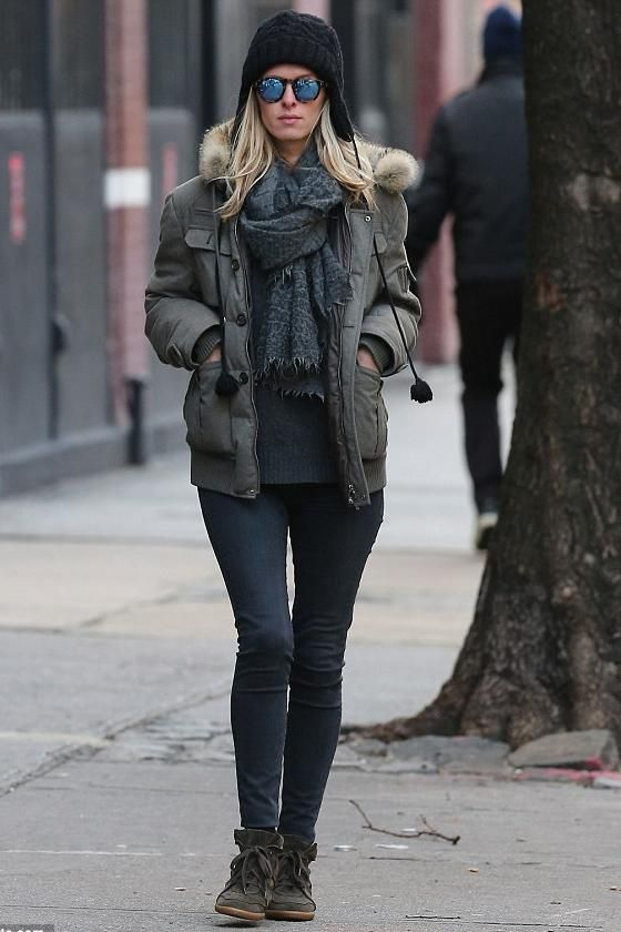 Nicky Hilton wearing Isabel Marant Bobby Low Top Sneaker, Brunello Cucinelli Fur Collar Jacket in Light Gray and Illesteva Leonard Sunglasses in Tortoise