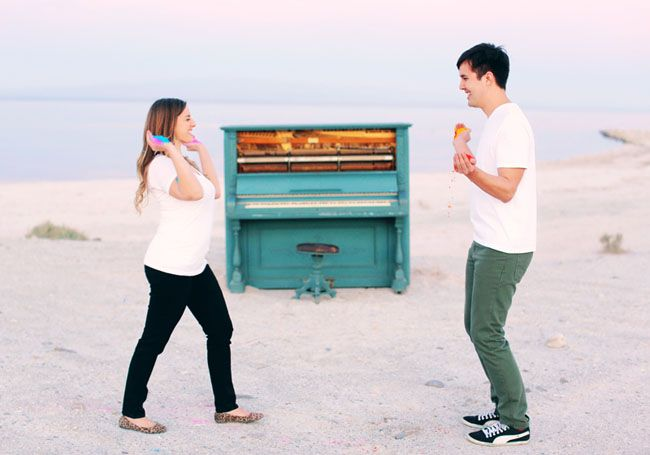 Engagement Photos with a Blue Piano and Holi Powder: Lolo + Brandon   Green Wedding Shoes Wedding Blog   Wedding Trends for Stylish + Creative Brides