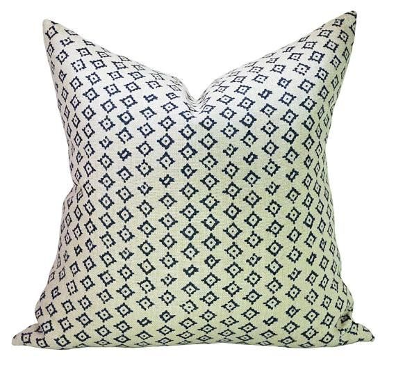 This listing is for one Kumbh Indigo/Natural pillow cover with linen backing.DESCRIPTIONFabric made by: Peter Dunham TextilesPillow made by: Spark ModernColors: