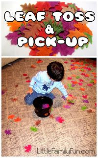 Little Family Fun: Fall Preschool Activities: I am going to have kids earn leaves for speech and language targets and let them throw up in air at the end as a reward!