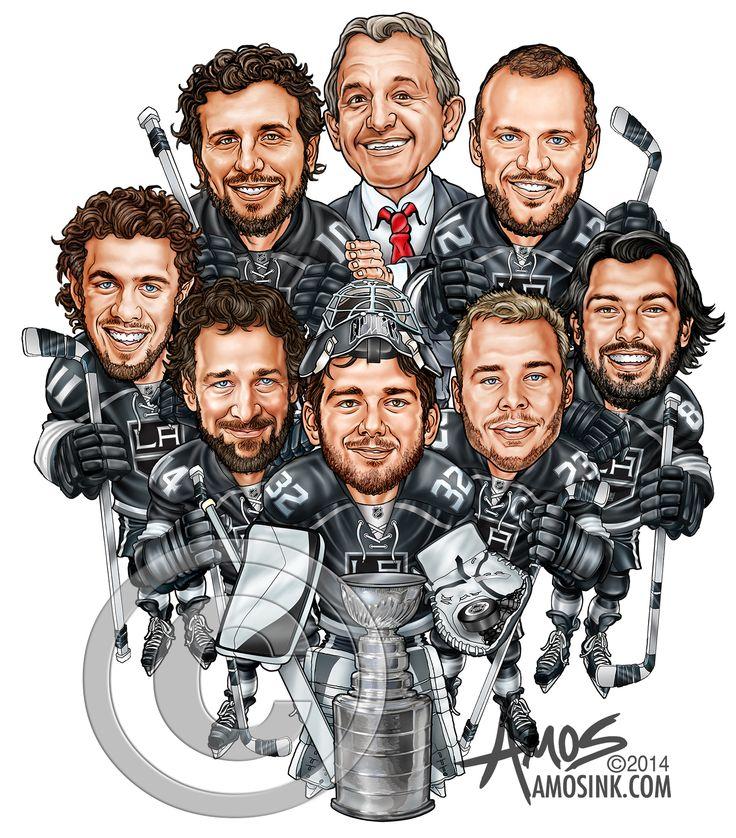 amosink.com - LA Kings, Reebok 2014 NHL Championship Caricature