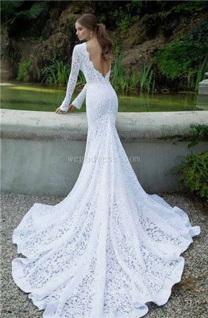 Vintage inspired wedding gown, long-sleeved with train.