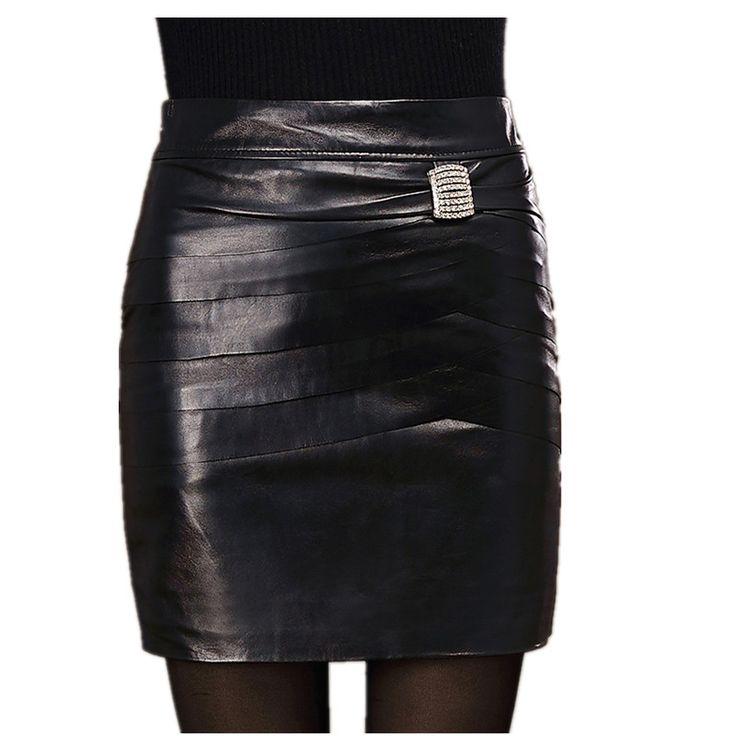 Женская подлинной кожаная юбка женский овчина юбка до середины бедра хип тонкий рыбья чешуя шаг юбка короткая юбка