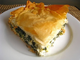 Spanakopita (Greek Spinach Pie)    2 pounds spinach, steamed, squeezed, drained and chopped  1 cup feta, crumbled  1/4 cup dill, chopped  1/4 cup parsley, chopped  1/4 cup green onions, sliced  3 eggs, lightly beaten  salt and pepper to taste  1/4 cup olive oil  12 sheets phyllo dough
