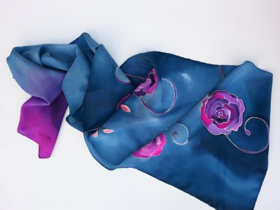 Blue silk scarf with purple flowrs. Scarf is dominated by shades of blue, especially cornflower blue. Hand painted by SilkAgathe.