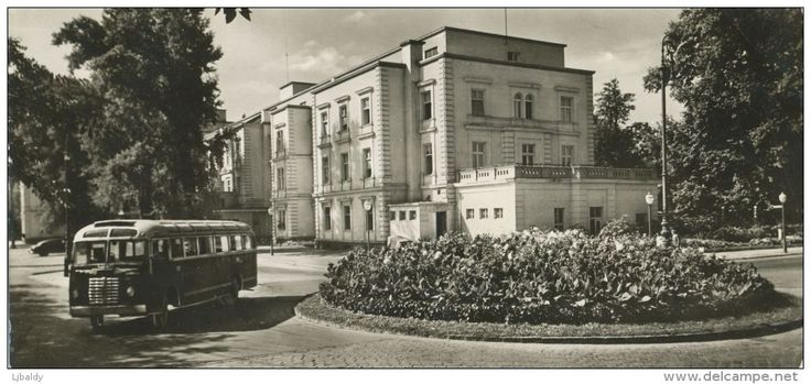 BUDAPEST - Grand Hotel, Margaret Island with Ikarusz 30 bus. Real photo card posted 1958. Unusual 23 x 10.5 cm size